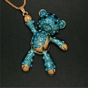 Cute Blue Teddy Bear Sweater Necklace